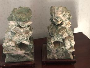 Lot 008 Pair of carved chinese hardstone foo dogs 8H X 4W X 4D PICK UP IN RVC PICK UP IN RVC