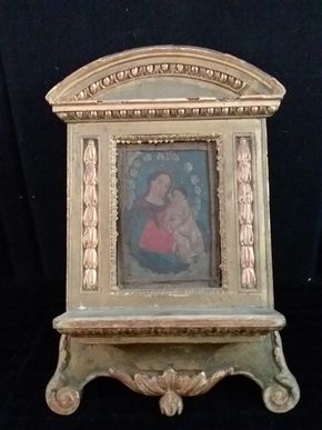 Lot 048 Antique Hand Painted  Wood Bookstand 16.5H x 8W x 12.5L
