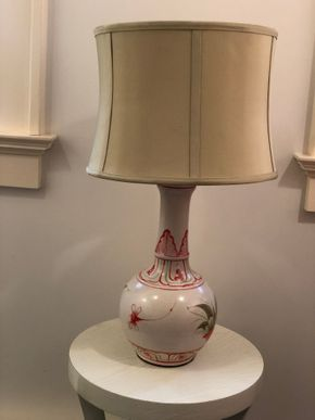 Lot 012 Jamie Young Painted Porcelin Lamp w/Silk Shade 6 x 21 PICK UP IN NEW HAVEN,CT
