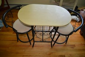 Lot 006 Lot of 3 Wood-Metal Tables 28H x 21W x 33L /2 Chairs 27.25H x 15.25W x15.25L (AS-IS) PICK UP IN MINEOLA, NEW YORK