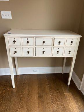 Lot 003 White 6 drawer side board 43in L X 17in W X 40in H PICK UP IN GARDEN CITY 1