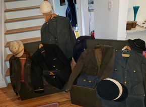 Lot 031 Lot of Vintage Military Uniforms and 2 Trunks PICK UP IN MINEOLA,NY