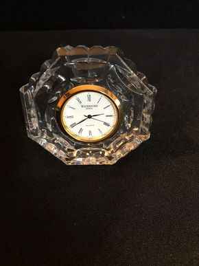 Lot 058 Waterford Clock APROX 3 Inches In Diameter Inches Tall PICK UP IN GARDEN CITY