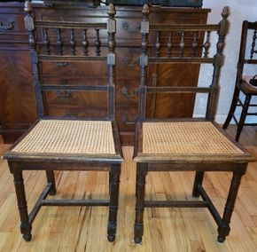 Lot 014 Lot of 2 Vintage Chairs 35.5H x 17.5W x 15.5D PICK UP IN WEST ISLIP, NY