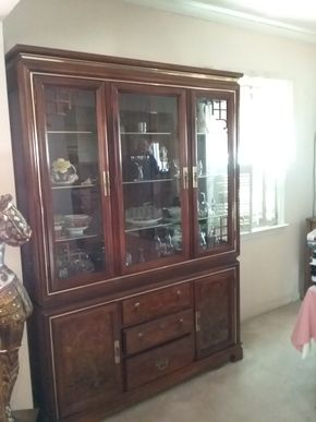 Lot 042 China Cabinet With Glass Doors and Carved Wood Doors 78H x 15W x 55L PICK UP IN WILLISTON PARK