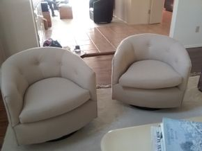 Lot 008 Pair Of Upholstered Swivel Bucket Chairs 25H x 31W x 29L PICK UP IN MANHASSET
