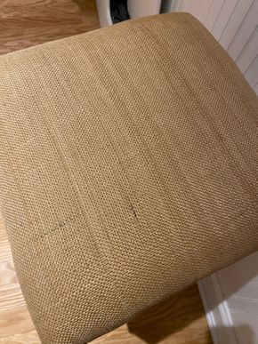Lot 002 Upholstered stool  wood legs as is 16 IN X 16 IN X 27 IN H PICK UP IN GARDN CITY