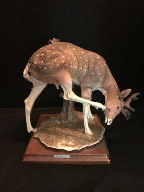 Lot 035 G Armani Deer Figurine. 9 In H  PICK UP IN BELLMORE.