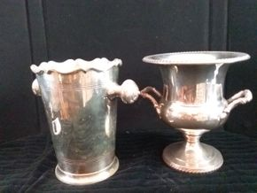 Lot 020 Set of Silverplate Ice Buckets 10inches Tall