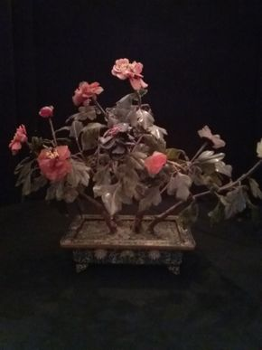 Lot 025 Chinese Jade tree In Cloisonne'  Base 11.5H x 5W x 7L PICK UP IN FLORAL PARK