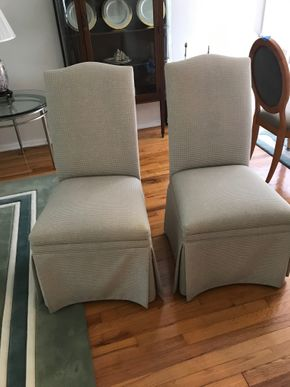 Lot 111 Pair of Ethan Allan Fabric Slipper Chairs 39H x 21L x 21W. PICK UP IN GARDEN CITY