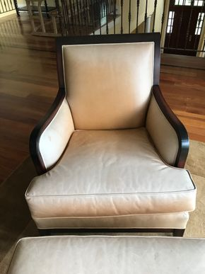 Lot 064 Leather and Wood Baker Chair And Ottoman 33H x 40W x 29L PICK UP IN LAWRENCE