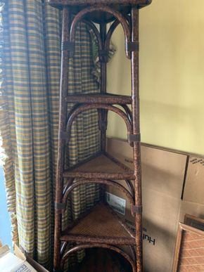 Lot 030 Rattan Corner Shelving 64H x 18d to widest point PICK UP IN GARDEN CITY
