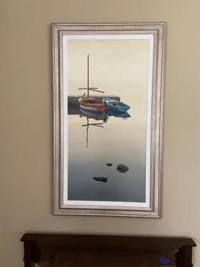 Lot 025 Framed artwork boats 47in L X 27in W PICK UP IN GARDEN CITY 1
