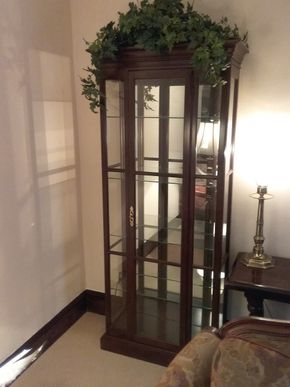 Lot 009 Ethan Allen Wood and Glass Curio Cabinet 72 x 11.5 x 28.5 PICK UP IN GARDEN CITY