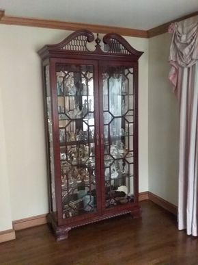 Lot 036 Large Wood and Glass Display Case 81H x 14W x 42L PICK UP IN GARDEN CITY