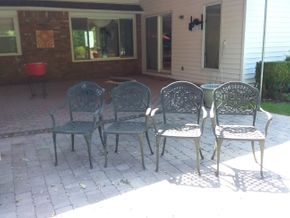 Lot 039 Lot Of 4 Metal Patio Chairs 35.25H x 17.25W x 17.50L PICK UP IN N BALDWIN