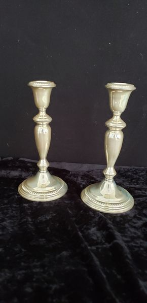 Lot 007 Pick Up lot  of Silver Sterling Candle Sticks Empire Weighted 8H x4W x 4L  PICK UP IN GARDEN CITY