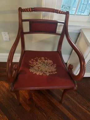Lot 011 Vintage Needlepoint Cushing Dining Armchair 32.5H x 20.75W x 20D PICK UP IN GARDEN CITY, NY