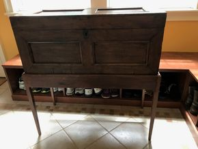 Lot 061 Antique Trunk Chest Table 40H x 16W x 37.5L PICK UP IN LAWRENCE