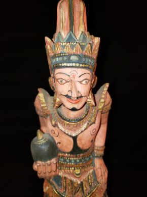 Lot 029 Balinese Wood Figure w/ Painted Ornament 14H x 14W x 4D PICK UP IN COMMACK,NY