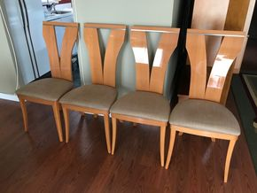 Lot 029 Lot Of Four Italian Wood Dining Room Chairs. 42H X 17.5W X 19.75L. PICK UP IN ROCKVILLE CENTRE.