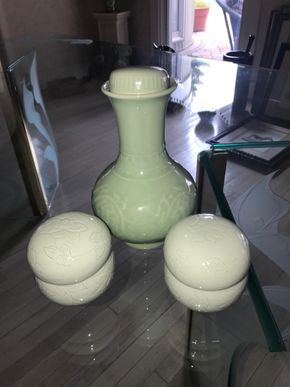 Lot 057 Lot Of 3 Celadon Glazed Porcelain Objects 8Inches Tall and 3.25 Inches Tall PICK UP IN ROCKVILLE CENTRE
