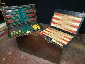 Lot 035 Lot of 2 Backgammon Sets w/Bakelite Pieces PICK UP IN MINEOLA,NY