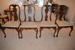 Lot 003 Lot of 4 Wood Upholstered Side Chairs 40H x 21 x 17.5 PICK UP IN GLEN COVE, NY