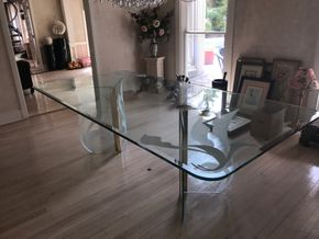 Lot 067 Etched Glass Dining Room Table 29.5H x 48W x 96L PICK UP IN ROCKVILLE CENTRE