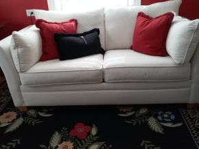 Lot 035 Pottery Barn Upholstered Sofa Bed 29 x 35 x 67 PICK UP IN ROCKVILLE CENTRE