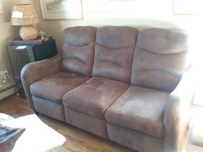 Lot 001 3 Seat Microfiber Sofa with 2 reclining seats 39H x 33W x 72L PICK UP IN BELLE HARBOR