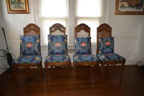 Lot 036 Lot of 4 Wood and Caned Dining Upholstered Side Chairs 46H x20.5W x 17.5L PICK UP IN GARDEN CITY