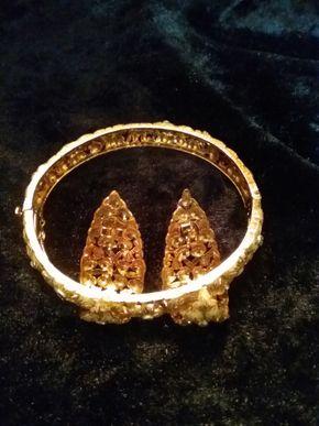 Lot 008 14K Gold Bracelet and Earring Set PICK UP IN WEST HEMPSTEAD