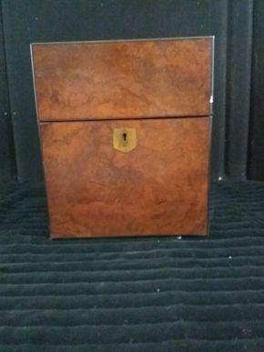 Lot 005 English Burlwood Tantalus Box Some Damage and no key 11H x 9.5w x 9.5L
