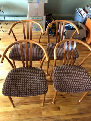Lot 001 Lot of 6 Dining Chairs As Is 1 Chair has some fraying ITEMS MUST BE PICKED UP IN LONG BEACH