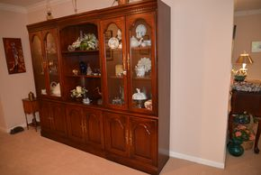 Lot 017 Wood China Cabinet 2 Glass Door Side Cabinets 76H x 29W x 16.5L. Center Cabinet 76H x 30W x 16.5L PICK UP IN GLEN COVE, NY