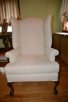 Lot 025 Upholstered Wingback Chair 45.5H x 26.25W x 30.5L PICK UP IN  MALVERNE, NY