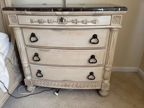 Lot 031 Distressed Night Chest 3 Drawer w/stone top  Ap35.5H x 36W x17.75D (AS IS) PICK UP IN EASTPORT,NY