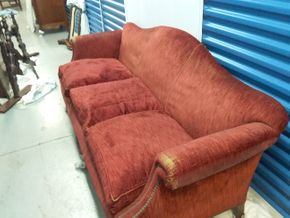 Lot 018 Antique Upholstered Couch In Need Of Repair 35.5H x 27W x 78L PICK UP IN ROCKVILLE CENTER