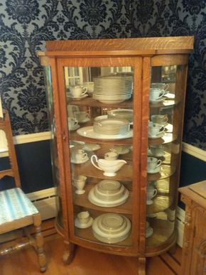 Lot 006 Oak and Glass Curio Cabinet 59H x 15W x 37L (China not included) PICK UP IN ROCKVILLE CENTRE