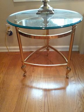 Lot 014 Brass And Glass End Table 22H x 23 in Diameter PICK UP IN GARDEN CITY