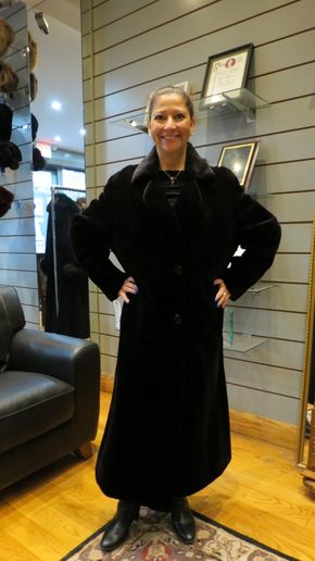 Lot 004 Black Sheared Mink Coat Size 14 Length 48in Sleeve 30in Sweep 74in Style 2224 - - Item Num: 7413-5