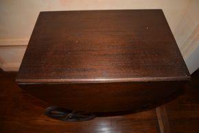 Lot 002 Wood Drop Leaf Rolling Tea Bar Serving Cart 24.5H x 26W x16.875L PICK UP IN PORT WASHINGTON, NY