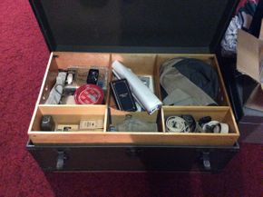Lot 101 Lot Of Military Items In Vintage Trunk PICK UP IN GARDEN CITY