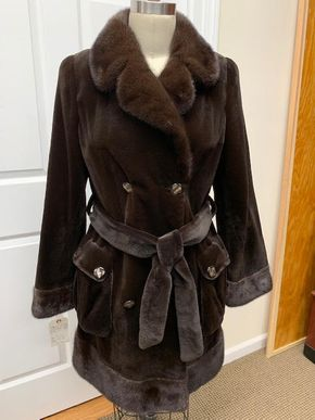 Lot 032 Brown Sheared Mink w/Long Hair Cuffs/Collar Belt and Button Pockets Size 10 Sleeve 31in Sweep 56in Style 3192 - - Item Num: 7610-38