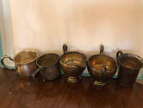 Lot 004 PU/LOT OF 5 Sterling Silver Cups 2inches H PICK UP IN WEST HEMPSTEAD