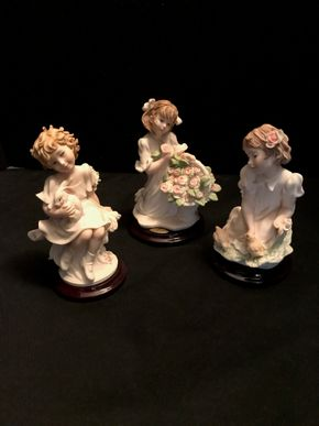 Lot 065 Lot of 3 Guiseppe Armani Figurines. My Friend The Society 2002 4.75 In. T. Chere The Society 2001 5 In. T. Springtime Of Life 2003 4.75 In T. PICK UP IN BELLMORE.