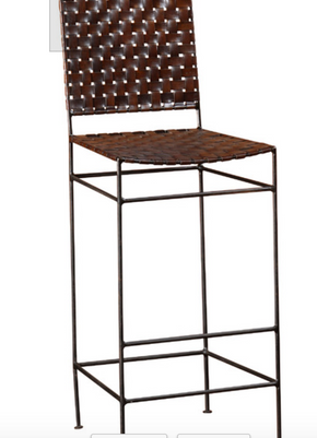 Lot 001 Lot of 4 William Sheppee Woven Leather and Iron Bar Stools 44H x 17W 16D PICK UP IN  NEW HAVEN, CT