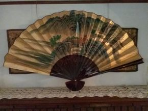 Lot 012 Chinese Hand Painted  Fan 35 Inches Long PICK UP IN FLORAL PARK